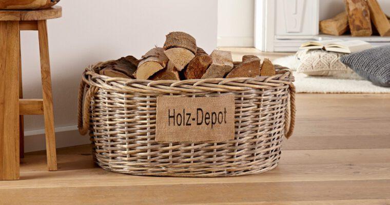 Holzkörbe und Holzständer für Brennholz und Kamin